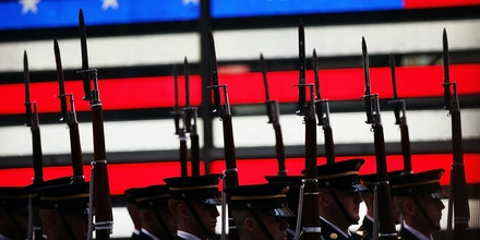 NEW YORK, NY - JUNE 12: Members of the U.S. Army Drill Team perform in Times Square in New York City in honor of the Army's 240th birthday on June 12, 2015 in New York City. Soldiers from the 3rd U.S. Infantry Regiment, the U.S. Army Old Guard Fife and Drum Corps, Soldier-musicians from The U.S. Army Band