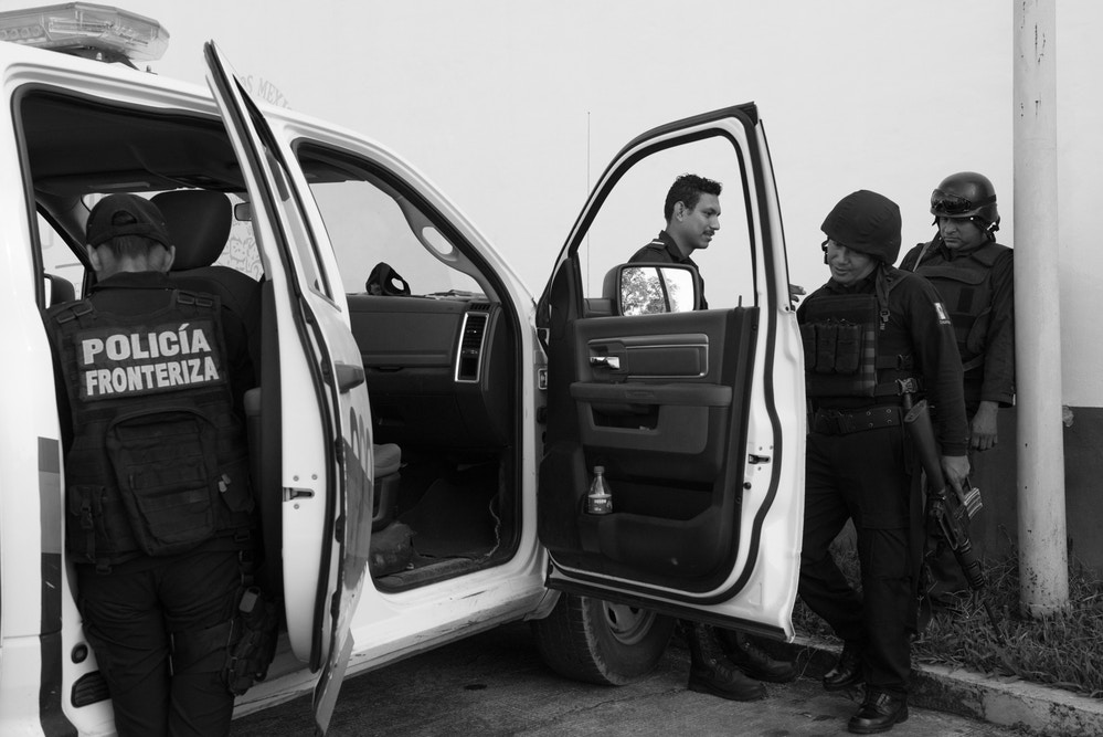 Members of the Border Police on patrol. The unit's stated aim is to prevent crimes against migrants, who are particularly vulnerable to robbery, assault, sexual violence and exploitation.