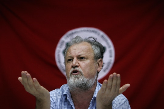 Brazil's Landless Workers Movement (MST) leader Joao Pedro Stedile answers questions during a press conference with foreign journalists, in Sao Paulo, Brazil, on April 14, 2009.  AFP PHOTO/Mauricio LIMA (Photo credit should read MAURICIO LIMA/AFP/Getty Images)