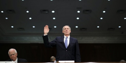 WASHINGTON, DC - FEBRUARY 28:  Former U.S. Senator Dan Coats is sworn in during his confirmation hearing before the Senate Select Intelligence Committee to be the next Director of National Intelligence in the Dirksen Senate Office Building on Capitol Hill February 28, 2017 in Washington, DC. A former ambassador to Germany and a two-time Republican senator from Indiana, Coats is President Donald Trump's choice to be AmericaÕs top intelligence official.  (Photo by Chip Somodevilla/Getty Images)