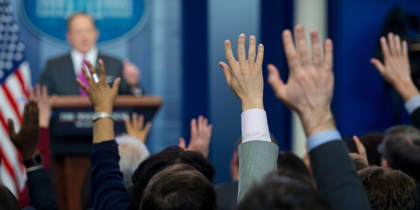 Spicer Cant Explain Why Trump Wont Declassify Wiretap House Wiring Interview Questions Members Of The Press Raise Their Hands To Ask A Question White Secretary