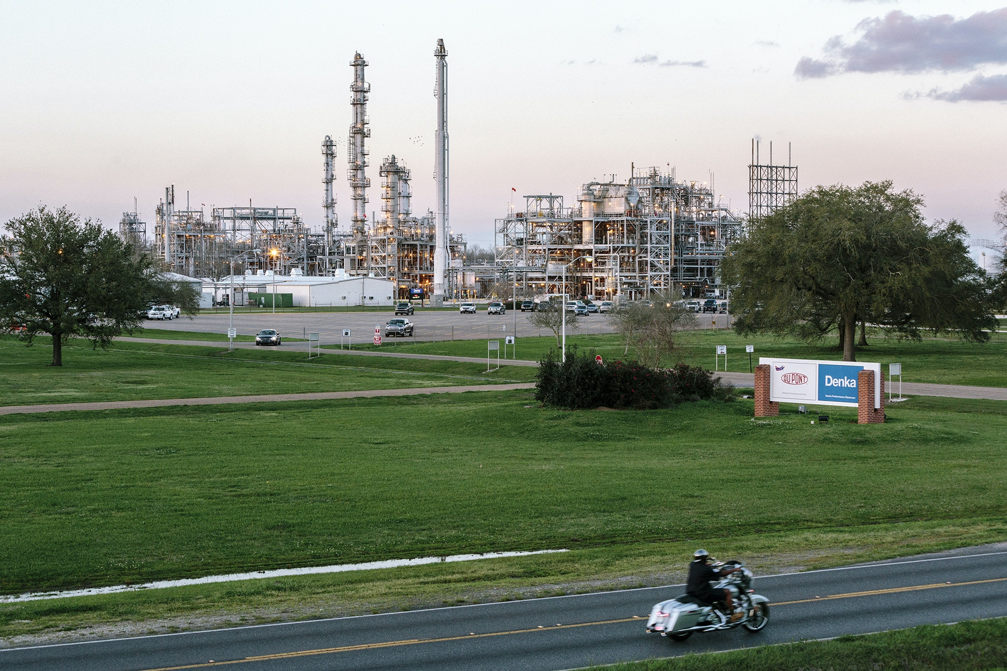 Reserve, LA - Feb 24, 2017 - The Dupont/Denka plant as seen from a levee wall on the opposite side of River Road.