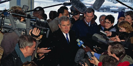 George W. Bush talks with reporters during his presidential campaign. Bush won the 2000 Presidential Election against Vice President Al Gore after a controversial vote recount in Florida. (Photo by Brooks Kraft LLC/Sygma via Getty Images)