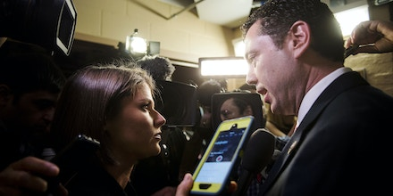 UNITED STATES - FEBRUARY 14: House Oversight and Government Reform Committee chairman Jason Chaffetz, R-Utah, speaks to reporters as he leaves the House Republican Conference meeting in the basement of the Capitol on Tuesday, Feb. 14, 2017. (Photo By Bill Clark/CQ Roll Call)