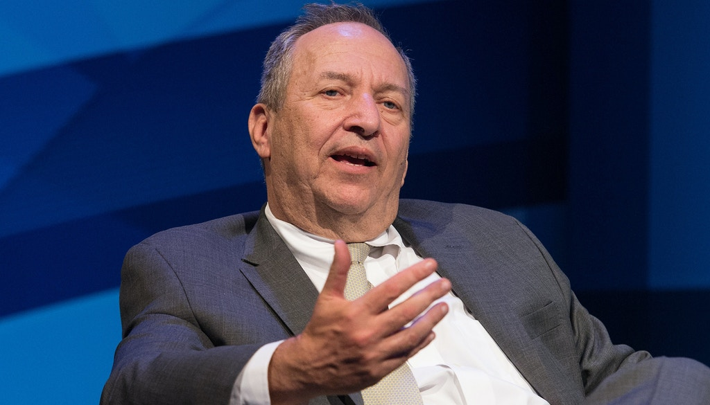 "Former US treasury secretary Larry Summers speaks during a discussion entitled ""The New Normal in Asia: Will Growth Inevitably Slow?"" at the IMF/WB Spring Meetings in Washington, DC, on April 16, 2015.    AFP PHOTO/NICHOLAS KAMM        (Photo credit should read NICHOLAS KAMM/AFP/Getty Images)"