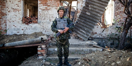 Soldier of the Ukranian Army  at the front line of the ATO operation. Artemovsk, Ukraine, on 02/10/2015(Photo by Juan Teixeira/NurPhoto) *** Please Use Credit from Credit Field ***