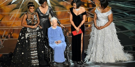 HOLLYWOOD, CA - FEBRUARY 26:  NASA mathematician Katherine Johnson (2nd L) appears onstage with (L-R) actors Janelle Monae, Taraji P. Henson and Octavia Spencer during the 89th Annual Academy Awards at Hollywood & Highland Center on February 26, 2017 in Hollywood, California.  (Photo by Kevin Winter/Getty Images)