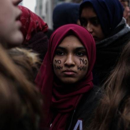 High School Student of NYC are protesting following current political shift of USA that ave been affecting muslim and immigrant students at Foley Square, New York, USA, 7 February 2017. (Photo by Anik Rahman/NurPhoto via Getty Images)