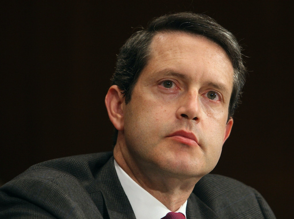 UNITED STATES - JULY 25:  Randal K. Quarles, under secretary for domestic finance, Department of the Treasury, listens to a question during a Senate Banking Committee hearing on hedge fund regulation, July 25, 2006 in Washington, D.C. U.S. Securities and Exchange Commission Chairman Christopher Cox said at the hearing that hedge funds aren't being regulated enough and Congress may have to pass laws requiring more oversight of the industry with $1.2 trillion in assets.  (Photo by Chris Kleponis/Bloomberg via Getty Images)