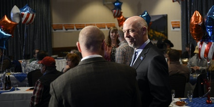 Greg Gianforte, Republican candidate for Montana governor, chats with supporters while his campaign waits for the votes to be counted in the Montana governor's race, Tuesday, Nov. 8, 2016, in Bozeman, Mont. (Rachel Leathe/Bozeman Daily Chronicle via AP)