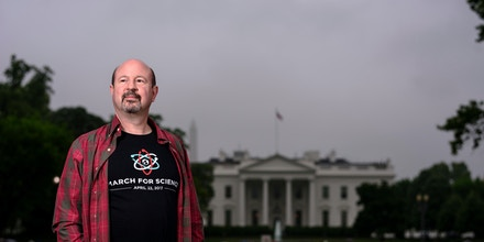 Washington, D.C. - April 22, 2017: Michael Mann, director of the Earth System Science Center at Pennsylvania State University stands in front of the White House in Lafayette Square Saturday April 22, 2017, before the March for Science in Washington.CREDIT: Matt Roth
