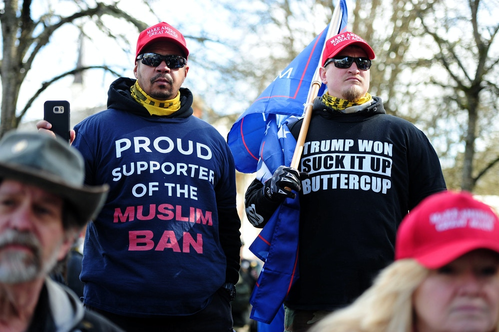 "Pro-Trump supporters take part in a ""Make America Great Again"" rally in Salem, Ore., on March 25, 2017. (Photo by Alex Milan Tracy) *** Please Use Credit from Credit Field ***(Sipa via AP Images)"