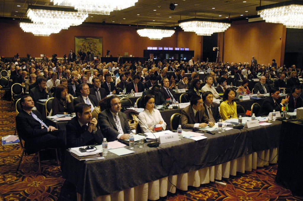 Delegates from more than 70 countries listen to proceedings during the International Whaling Commission meeting 29 May 2007 in Anchorage, Alaska. The fate of the great whales hung in the balance as officials from 75 nations opened talks amid pressure, notably from Japan, to reverse a ban on commercial hunting of the mammals.   AFP PHOTO/Michael CONTI (Photo credit should read Michael Conti/AFP/Getty Images)