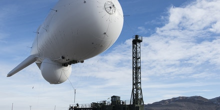 UTAH TEST AND TRAINING RANGE, UT - FEBRUARY 3:  In this handout from the U.S. Air Force, a flight crew launches an U.S. Army Joint Land Attack Cruise Missile Defense Elevated Sensor System (JLENS) February 3, 2014 at the Utah Test and Training Range, Utah. According to reports October 28, 2015, an unmanned Army surveillance blimp broke loose from a ground tether at the Aberdeen Proving Ground, Maryland and is currently drifting over Pennsylvania. (Photo by U.S. Air Force/Tiffany DeNault via Getty Images)