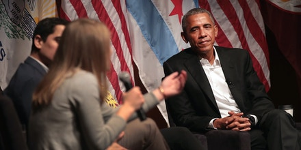 CHICAGO, IL - APRIL 24:  Former President Barack Obama listens as participants speak during a forum at the University of Chicago held to promote community organizing on April 24, 2017 in Chicago, Illinois. The visit marks Obama's first formal public appearance since leaving office.  (Photo by Scott Olson/Getty Images)