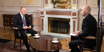 Russian President Vladimir Putin is interviewed by Mir Chairman Radik Batyrshin, for Mir Television and Radio Broadcasting Company, on April 12, 2017.