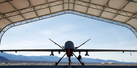 INDIAN SPRINGS, NV - NOVEMBER 17:  (EDITORS NOTE: Image has been reviewed by the U.S. Military prior to transmission.) An MQ-9 Reaper remotely piloted aircraft (RPA) is parked in an aircraft shelter at Creech Air Force Base on November 17, 2015 in Indian Springs, Nevada. The Pentagon has plans to expand combat air patrols flights by remotely piloted aircraft by as much as 50 percent over the next few years to meet an increased need for surveillance, reconnaissance and lethal airstrikes in more areas around the world.  (Photo by Isaac Brekken/Getty Images)