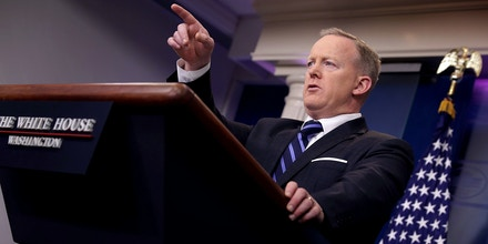 WASHINGTON, DC - APRIL 10:  White House Press Secretary Sean Spicer answers reporters' questions during the daily news conference in the Brady Press Briefing Room at the White House April 10, 2017 in Washington, DC. Spicer decribed President Donald Trump's meeting with Jordan's King Abdullah as