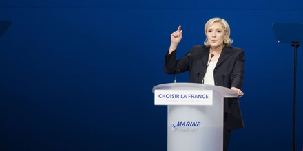 French presidential election candidate for the far-right Front National (FN) party Marine Le Pen delivers a speech during a meeting at the Parc des Expositions in Villepinte. Villepinte, FRANCE - 01/05/2017. (Sipa via AP Images)