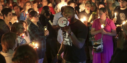 Wes Bellamy speaks during a counter-protest to