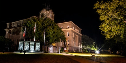 The scene outside the Navarro County Courthouse on July 23, 2014 in Corsicana, Texas. Cameron Todd Willingham was convicted by a local jury in this courthouse of setting a fire that killed his three children; he was subsequently executed on February 17, 2004 by the State of Texas. Now a witness that testified against Willingham, saying he made a jailhouse confession to the fire has now come forward to say he lied. (Photo by Michel du Cille/The Washington Post via Getty Images)