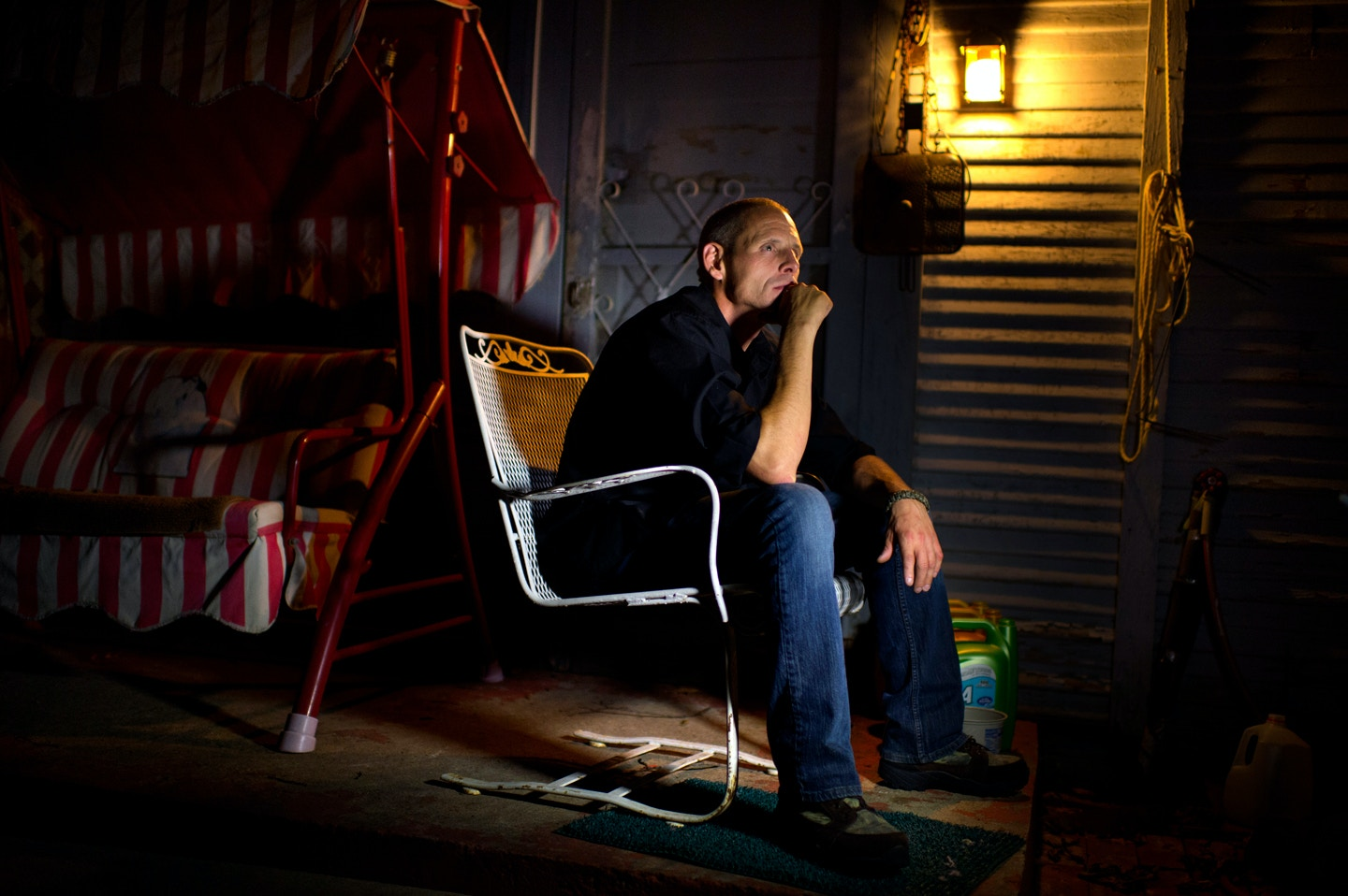 CORSICANA, TX - JULY 23: Johnny Webb, posing in his mother's back yard, on July 23, 2014 in Corsicana, Texas.  Webb was a witness who testified that Cameron Todd Willingham made a jailhouse confession to him that he murdered his three children, has come forward to say he gave false testimony. Cameron Todd Willingham was convicted by a local jury of setting deadly fire that killed his three children; he was subsequently executed on February 17, 2004 by the State of Texas. (Photo by Michel du Cille/The Washington Post via Getty Images)