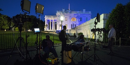 Members of the media in the stakeout area near the West Wing of The White House in Washington on Monday, May, 15, 2017, following  news reports that President Trump revealed classified intelligence information to visiting Russian officials last week. Trump on Tuesday defended his decision to share sensitive information with senior Russian officials about an Islamic State threat, saying that he had an