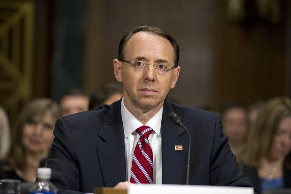 United States Attorney for the District of Maryland Rod J. Rosenstein gives testimony before the US Senate Committee on the Judiciary on his nomination to be Deputy Attorney General on Capitol Hill in Washington, DC. Rosenstein and Brand Confirmation Hearing, Washington DC, USA - 07 Mar 2017 (Rex Features via AP Images)