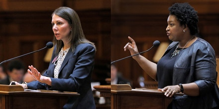 Rep. Stacey Evans speaks in opposition to HB 37 during a legislative session of the Georgia General Assembly, Wednesday, Feb. 22, 2017, in Atlanta.   House Minority leader Stacey Abrams, D-Atlanta, encourages members of her party to support House Bill 338.