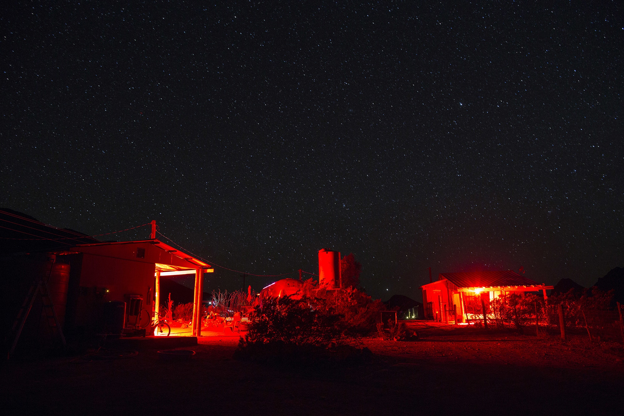 Stars fill the sky over Tin Valley Retro Rentals where tourists can sleep in tipi-style tents in Terlingua, Texas, near the US-Mexico border, late Monday, March 27, 2017. The rental options are on about 90 acres of desert, where Airstream trailers and old buses are converted into quarters. People can also sleep in one of two tipis. (AP Photo/Rodrigo Abd)