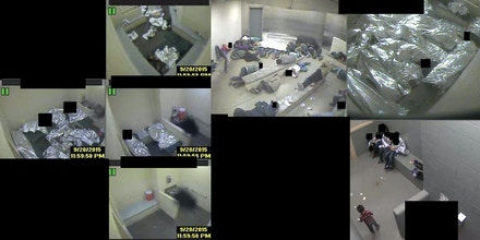 "These video stills were submitted as exhibits in litigation filed against Border Patrol by The American Immigration Council, the National Immigration Law Center, the ACLU of Arizona, the Lawyers' Committee for Civil Rights of the San Francisco Bay Area, and Morrison & Foerster LLP. It depicts individuals wrapped in Mylar sheets sleeping on a concrete floor and benches in a cell so crowded there is no room to move around. This is a sample of conditions in Border Patrol's ""short-term"" detention facilities in the Tucson Sector."