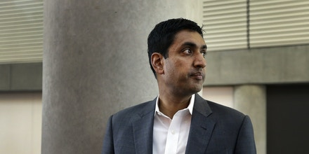Ro Khanna, Democratic candidate for U.S. Representative from California's 17th District, during a break in the California Democrats State Convention Saturday, Feb. 27, 2016, in San Jose, Calif. (AP Photo/Ben Margot)