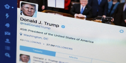 President Donald Trump's tweeter feed is photographed on a computer screen in Washington, Monday. April 3, 2017. (AP Photo/J. David Ake)