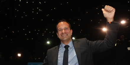 New Fine Gael leader. Leo Varadkar celebrates as he is named as Ireland's next prime minister after the votes for the leadership of the Fine Gael party were counted in the Mansion House in Dublin. Picture date: Friday June 2, 2017. Ireland's new Taoiseach is not expected to be formally confirmed until June 13 when the Dail parliament resumes following a week long break. See PA story IRISH Taoiseach. Photo credit should read: Brian Lawless/PA Wire URN:31545910