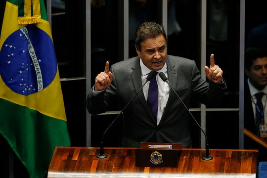 BRASILIA, BRAZIL - AUGUST 31:  Session of the Federal Senate vote clearance permanently President Dilma Rousseff office. Senator Aécio Neves<br /><br /><br /><br /><br /> (Photo by Igo Estrela/Getty Images)