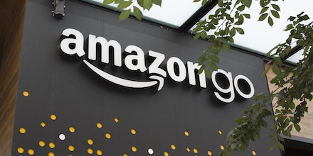 SEATTLE, WA - JUNE 16: A sign for Amazon Go is seen outside the grocery store's location on June 16, 2017 in Seattle, Washington. Amazon announced that it will buy Whole Foods Market, Inc. for over $13 billion.  (Photo by David Ryder/Getty Images)
