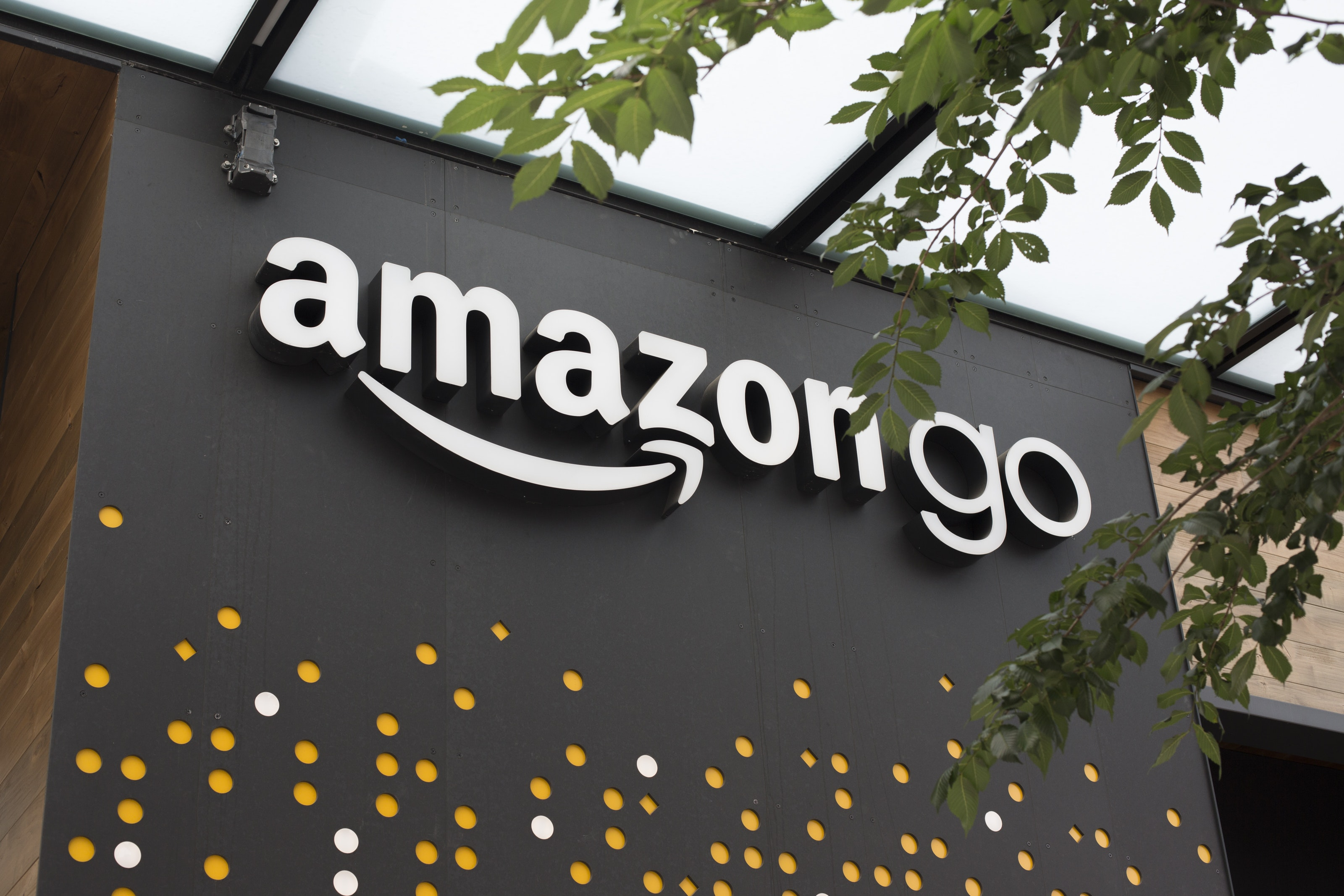 Seattle Wa June 16 A Sign For Amazon Go Is Seen Outside The