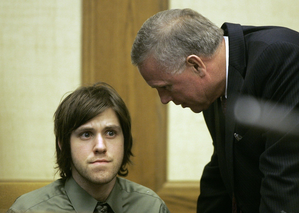 Defendant William Morva left listens to his attorney Tom Blaylock during jury selection in Montgomery County Circuit Court in Christiansburg, Va., Tuesday, Sept. 18 2007. Morva is charged with the August 2006 killings of a sheriff?s deputy and a hospital security guard. (AP Photo /Matt Gentry, Pool)