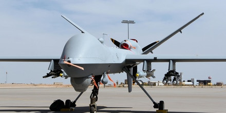 ALAMOGORDO, United States - Photo shows the unmanned aerial vehicle MQ-9 Reaper at the Holloman U.S. Air Force Base in New Mexico on June 25, 2013. (Kyodo)