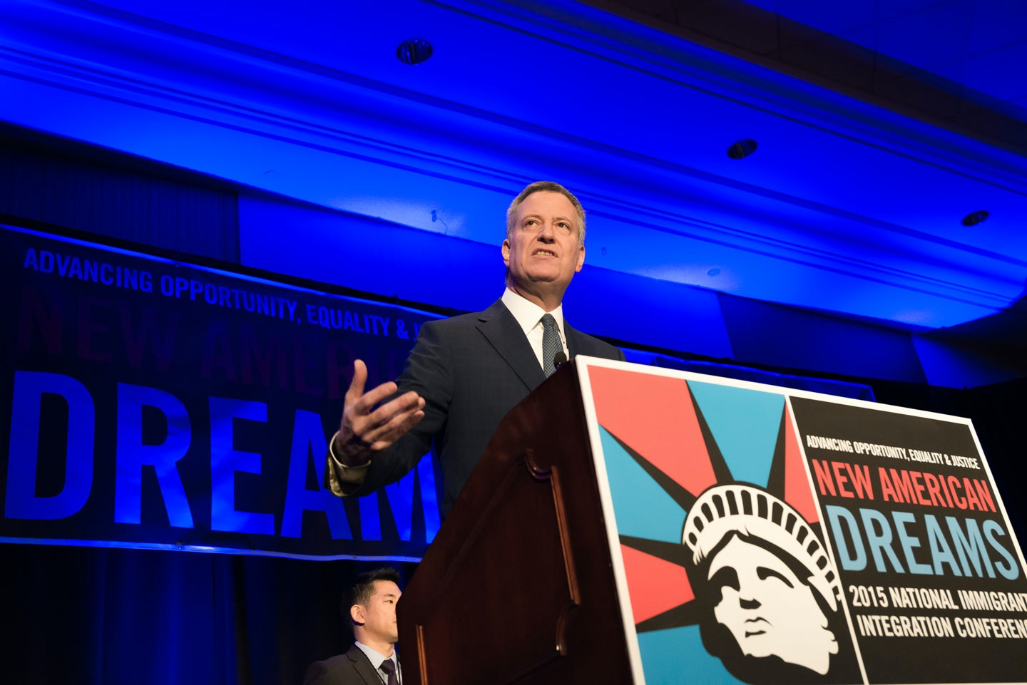 NEW YORK CITY - DECEMBER 14, 2015 - Mayor Bill de Blasio delivers remarks at the National Immigration Integration Conference. On the second day of the National Immigration Integration Conference held at the Marriott Hotel in Downtown Brooklyn, NYC Mayor Bill de Blasio delivered a keynote speech, announcing the city's commitment to welcoming newly-arrived Syrian refugees and the advent of the ActionNYC program seeking nationwide immigration reform. (Photo by Albin Lohr-Jones / Pacific Press) *** Please Use Credit from Credit Field ***