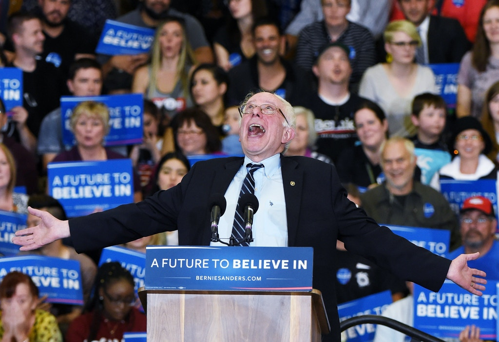 LAS VEGAS, NV - FEBRUARY 14:  Democratic presidential candidate Sen. Bernie Sanders (D-VT) jokes around as he speaks during a campaign rally at Bonanza High School on February 14, 2016 in Las Vegas, Nevada. Sanders is challenging Hillary Clinton for the Democratic presidential nomination ahead of Nevada's February 20th Democratic caucus.  (Photo by Ethan Miller/Getty Images)
