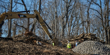 The Mariner East 2 pipeline has officially broken ground in the Delaware County town of Aston. The beginning stages of the pipeline includes clear cutting trees and preparing makeshift roads for the heavy machinery to traverse. (Emily Cohen for State Impact)