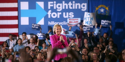 LAS VEGAS, NV - FEBRUARY 18:  Democratic presidential candidate former Secretary of State Hillary Clinton speaks during a