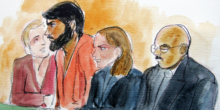 Artist drawing of terror suspect Hamid Hayat, second from left, sits with with unidentified translator, far left, attorney Wazhma Mojaddidi, second from right, and attorney Johnny Griffin, right, in a federal court in Sacramento, Calif., Friday, June 10, 2005.   The 22-year-old was arrested this week as part of a terror investigation in Lodi, Calif.  (AP Photo/Joan Lynch)