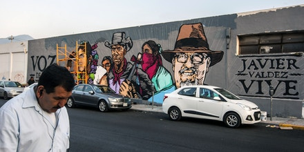 View of a mural painted by artists in memory of Mexican journalist Javier Valdez in Monterrey, Mexico on May 19, 2017.