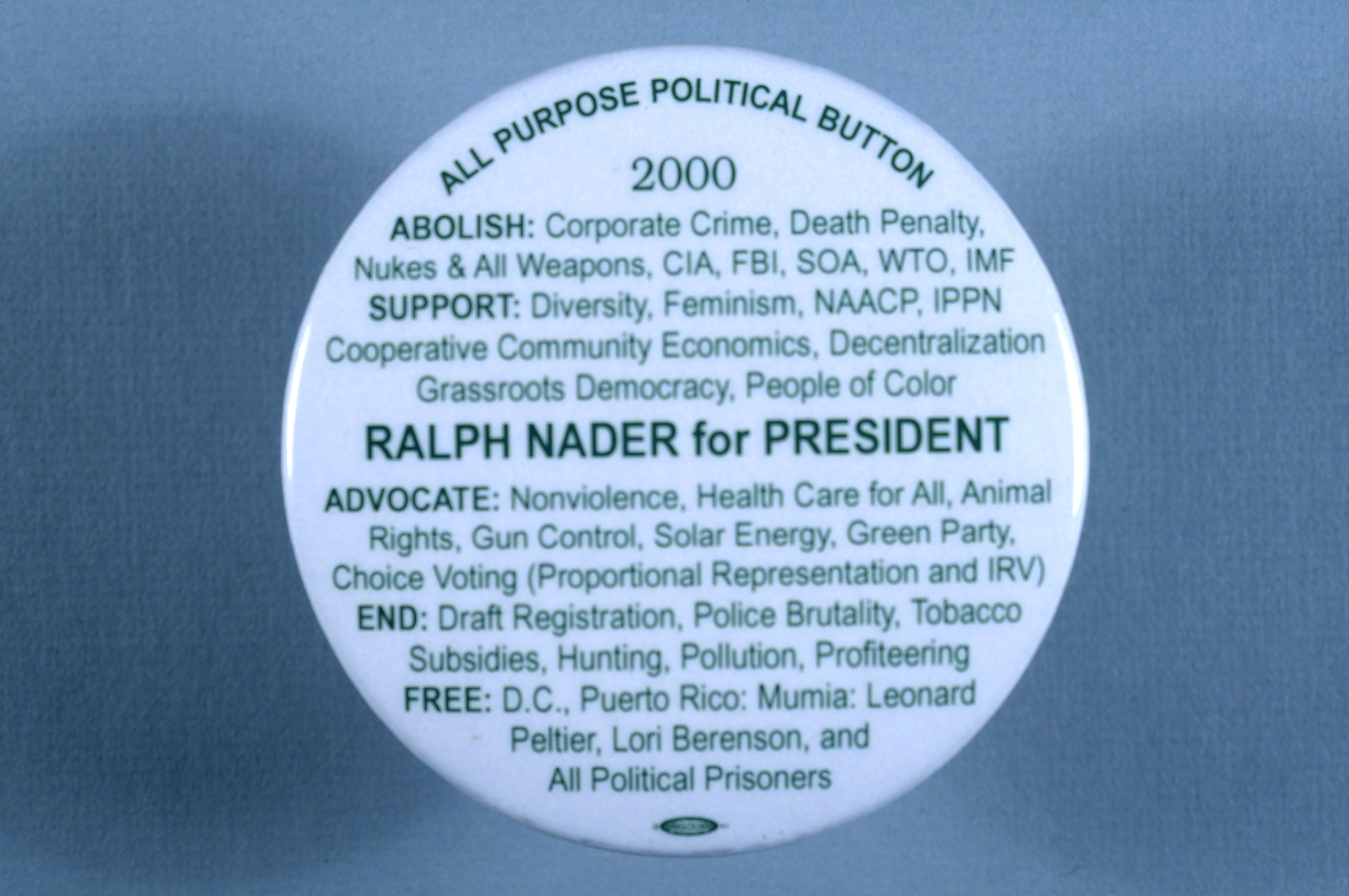 Campaign Button For Ralph Nader Who Ran As The Green Partys Candidate In 2000