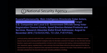 NSA Report on Russian Hacking of U S  Election