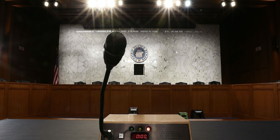 WASHINGTON, DC - JUNE 13:  A microphone is placed on the witness table for a hearing U.S. Attorney General Jeff Sessions will testify before the Senate Select Committee on Intelligence June 13, 2017 on Capitol Hill in Washington, DC. Sessions requested to testify publicly on the Justice Department's investigation into Russia's meddling in the 2016 election. (Photo by Alex Wong/Getty Images)