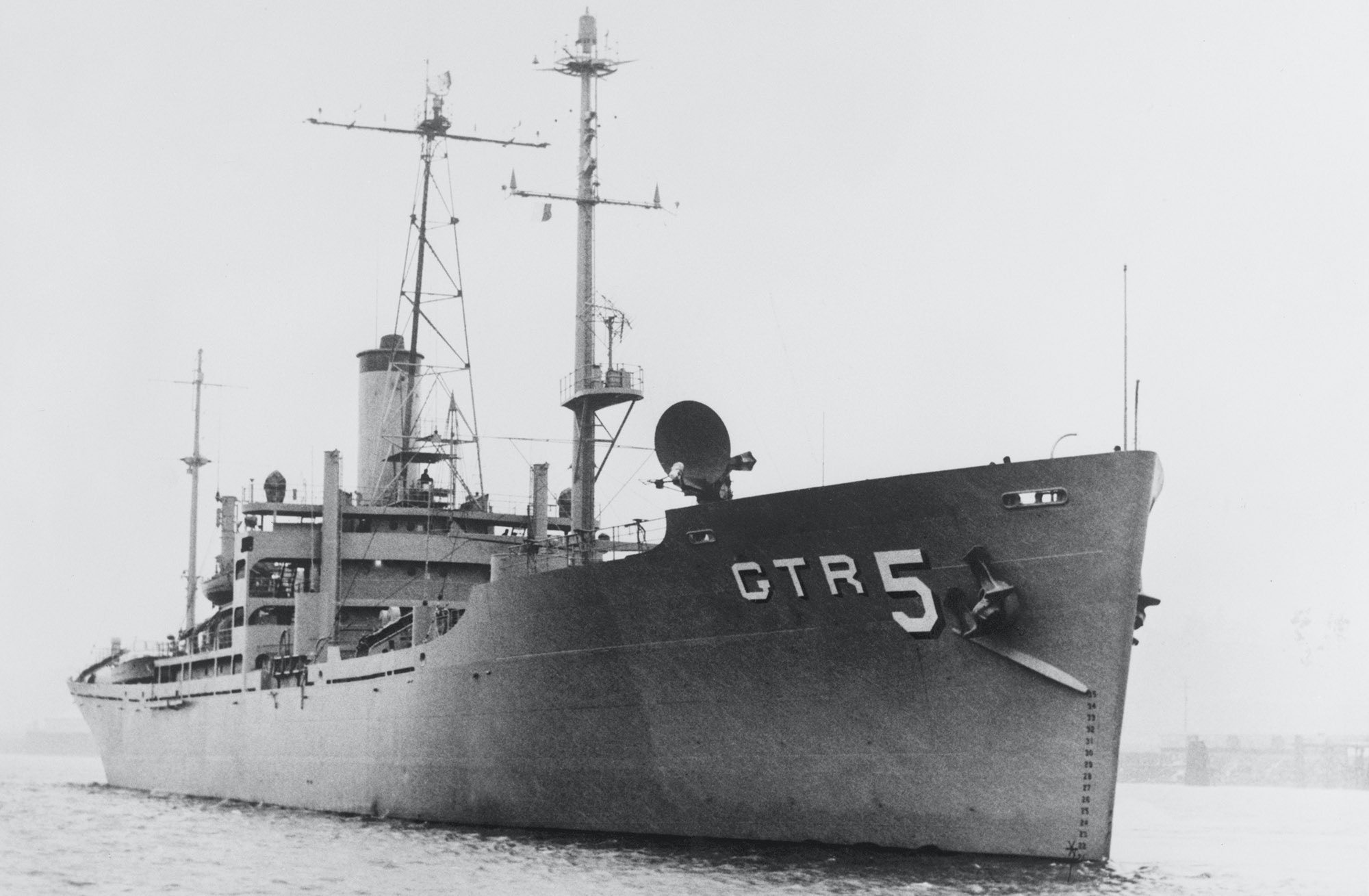 (Original Caption) Washington:Israeli planes and one or more torpedo boats mistakenly attacked this US Navy research ship, the USS Liberty (shown in file photo) in the Mediterranean Sea near the Sinai Peninsula 6/8. The Defense Department said four sailors were killed and 53 wounded. 6/8/197