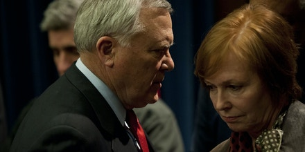ATLANTA, GA - FEBRUARY 11: Georgia Gov. Nathan Deal (L) talks to Brenda Fitzgerald (R), Commissioner of the Georgia Department of Public Health during a news conference at the Capitol building on February 11, 2014 in Atlanta, Georgia. An ice storm warning has been issued for the area through Thursday, with storms tonight expected to result in heavy ice accumulation. Widespread power outages are expected around Atlanta. (Photo by Davis Turner/Getty Images)